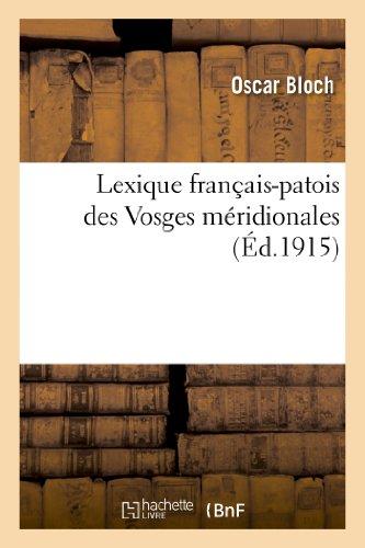 Lexique français-patois des Vosges méridionales
