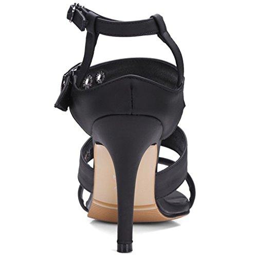 Azbro Women's Strap Open Toe Slingback High Heels Sandals Red