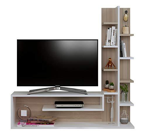 GLORY Ensembles de meubles de salon - Blanc / Avola - Meuble TV avec étagères en moderne design