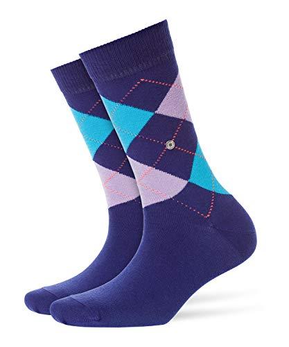Burlington Damen Queen klassisches Argyle Muster Baumwolle 1 Paar modische Socken Blickdicht blau (Blue Print 6005) 36/41 (One Size)