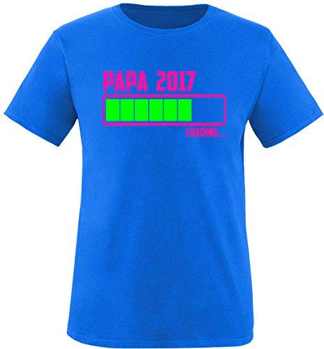 EZYshirt® Papa 2017 Herren Rundhals T-Shirt Royal/Pink/Neongr