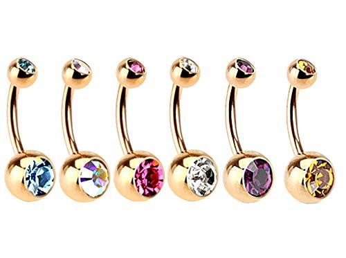 Kultpiercing - 6er Set - Bauchnabelpiercing Basic Rosegold - Nabelpiercing Bananabell Barbell 1,2 x 10 Kristall - 6 Stück: in Verschiedenen Farben