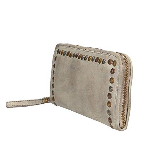 Chicca Borse Portafogli in pelle 22x12x3 100% Genuine Leather bianco cenere