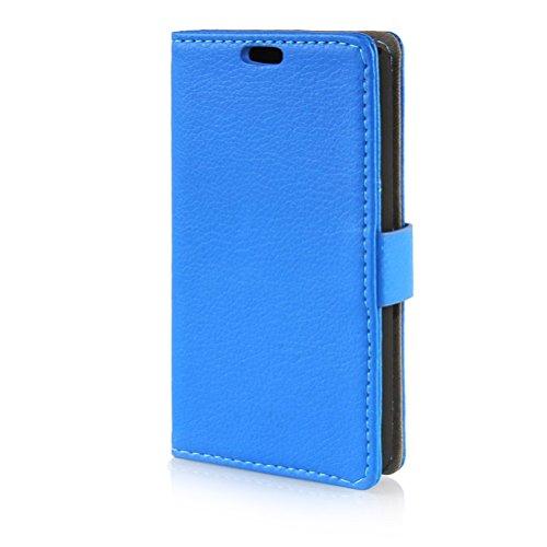MOONCASE LG L Fino Case Leder Schutzhülle für LG L Fino D295 Handyhülle Etui Tasche Flip Cover Hülle Blau