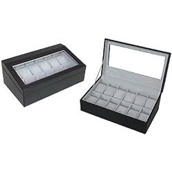 Hochwertige Uhrenbox Woolux für 12 Uhren Leder