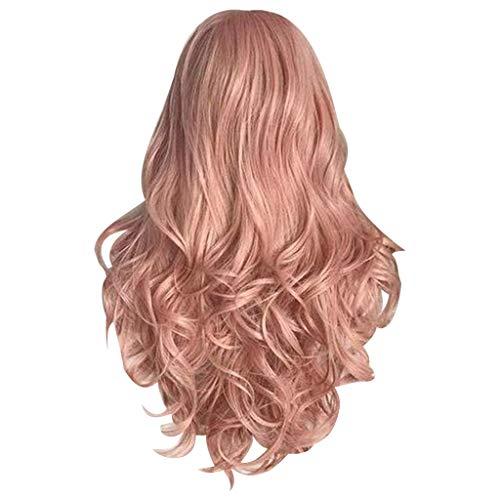 ToDIDAF Volle Perücken mit Perücken-Kappe für Frauen, gewelltes langes Mode-Kunsthaar, rosa natürliches lockiges, natürlich aussehendes und hitzebeständiges, 24 Zoll