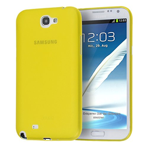 doupi UltraSlim Custodia per Samsung Galaxy Note 2, satinato fine piuma facile mat semi trasparente Cover, Giallo