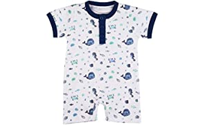 Softsens Baby Certified Organic Cotton Extra Soft Unisex Baby Bodysuit Romper Blue (3-6 Months)