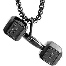 LAMUCH Colgante de acero Negro Oro Plata Pesa de gimnasia de la aptitud Peso inoxidable unisexo