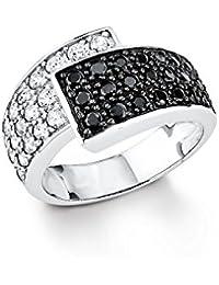 Amor Damen-Ring 925 Sterling Silber rhodiniert glänzend Zirkonia schwarz/weiß