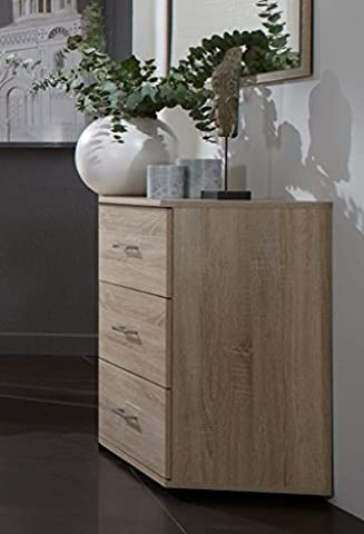 Germanica™ BAVARI Bedroom Furniture in a Choice of White or Light Oak Colours, 3 Drawer Chest, 6 Drawer Wide Chest & 5 Drawer With Cupboard Combi Unit (Light Oak 3 Drawer Chest)