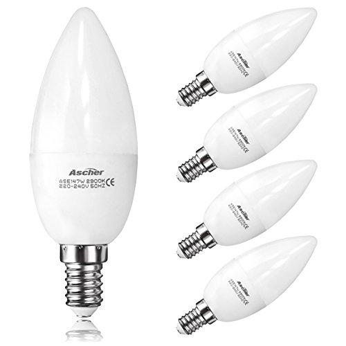 Ascher 7W C37 E14 Lampadine Candela LED, Pari a Lampadineda Incandescenza da 50W, 520lm, Luce Bianca Calda, 2900K, Lampadine a LED, Confezione da 4 Unità