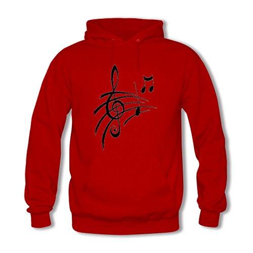 HGLee Printed DIY Custom Music Note Women's Hoodie Hooded Sweatshirt Red--2