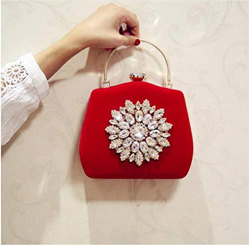JIANYUXIN KosmetiktascheSun Flower Abendtasche Hochzeit Clutch Bag Girls Party Dinner Bag Mit Kette Rot