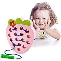 LEADSTAR Fresa de Madera Juguete de Rosca,Juego de Viaje Aprendizaje temprano Motores Finos Montessori Regalo Educativo para 1 2 3 años de Edad Niños Pequeños Bebés (Rosado)