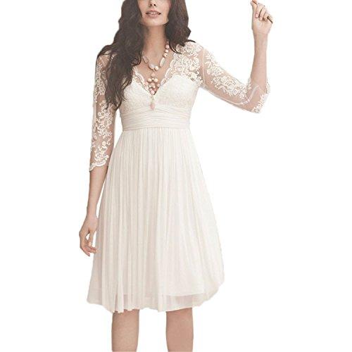 YASIOU Hochzeitskleid Kurz Elegant Damen Weiß A Linie Tüll Spitze Knielang 3/4 arm Brautkleider...