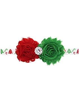 Zhhlaixing Christmas Baby Girls Toddler Kids Chiffon Tow Flowers Headband Hairband Hair Accessories for Photography...