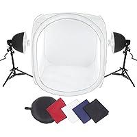 Amzdeal Tente de Photo Studio cube 80cm×80cm×80cm, Boîte de lumière avec 2x 135w Ampoule + 2x Lampe Aluminium + 4x Fonds de couleur(Rouge, Blanc, Bleu, Noir)