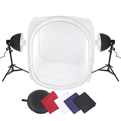 fotobox set Amzdeal Lichtzelt 80x80x80cm Lichtwürfel Set Fotozelt mit 2 x 135 W Fotplampe + Lampenstativ + Lampenschirm+ Aluminium-Leuchtenkopf + 4 x Hintergründe (Schwarz / Weiß / Blau / Rot) Fotostudio