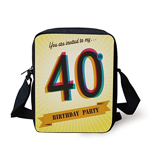 CBBBB 40th Birthday Decorations,Vintage Graphic Banner Party Invitation Theme Optical Striped,Multicolor Print Kids Crossbody Messenger Bag Purse