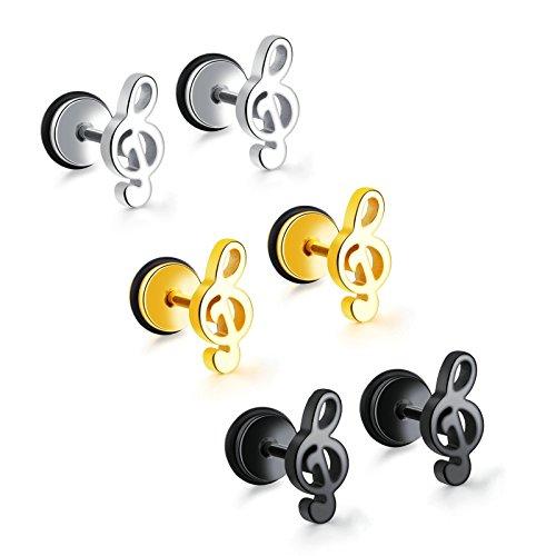 Aooaz Schmuck 1 Paar Ohrringe Damen Ohrstecker Musik Notenschlüssel Ohrstecker Schwarz Ohrschmuck