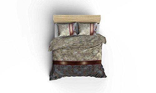 LaModaHome 3PCS Luxus Weich farbigen Schlafzimmer 65% Baumwolle 35% Polyester Ranforce Quilt Bettbezug Set blau braun grau Muster Lila Zwei Linien Dick Braun Line Super King Bett ohne Tröster (Tröster Und Blau Braun)