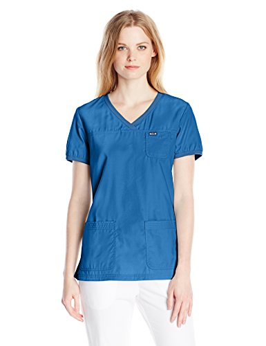 KOI Women\'s Nicole Super Comfy Pullover Style Scrub Top With Rib Trim, Royal, 3X-Large