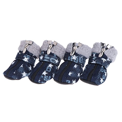wiffe Pet Schuhe Hunde Puppy Stiefel Denim Snow Winter Warm Lovely rutschfeste Reißverschluss Casual 1 weiß (Puppy Stiefel Kleine)