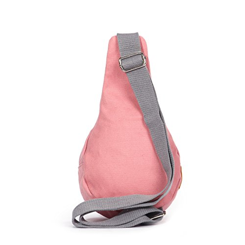 Eshow Damen Herren Canvas Freizeit Sport Brusttasche Umhägentasche Taschen, Rosa Rosa