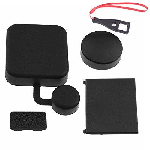First2savvv GO-4JTG-ZT-01BS negro Funda de proteccion y la lente de camara la bateria puerta lateral Cubiertas Kit para GoPro Hero 3+ 4 + Llave Llave