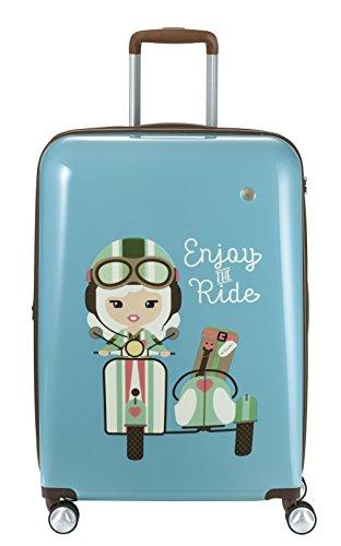 Travelite Lil'Ledy Buntes Reisegepäck/Rucksack/Kindertrolley/Handtasche/Reisekoffer, Weichschale, Hartschale, in Kawaii Optik, 68 cm, 76 l, türkis