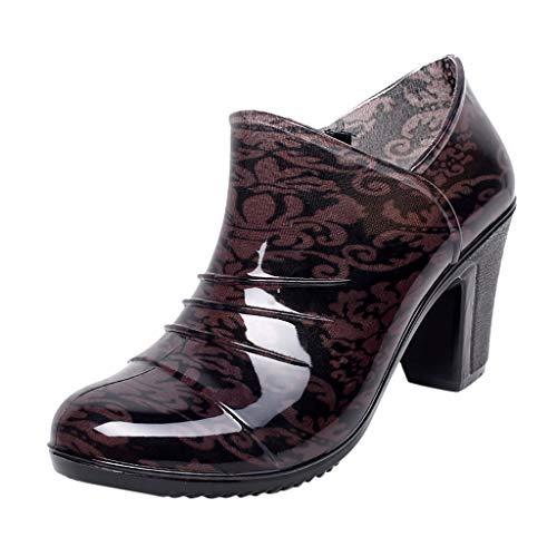 Yourgod Ladies Thick High Heel Low Waterproof Rain Boots Women