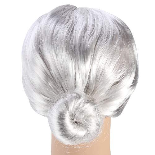 Toyvian Alte Dame graue Perücke / Oma Oma im Alter von Frauen Perücke Brötchen Frisur Halloween Weihnachten Cosplay Zubehör für alte Dame (Ashen)