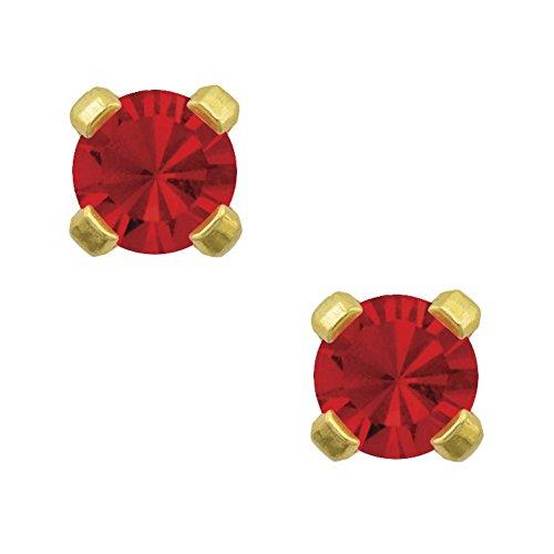 Studex Tiny Tips 3mm Juli / Ruby CZ Geburtsstein vergoldete Kinder hypoallergene Ohrstecker (Hypoallergen Ohrringe Ruby)