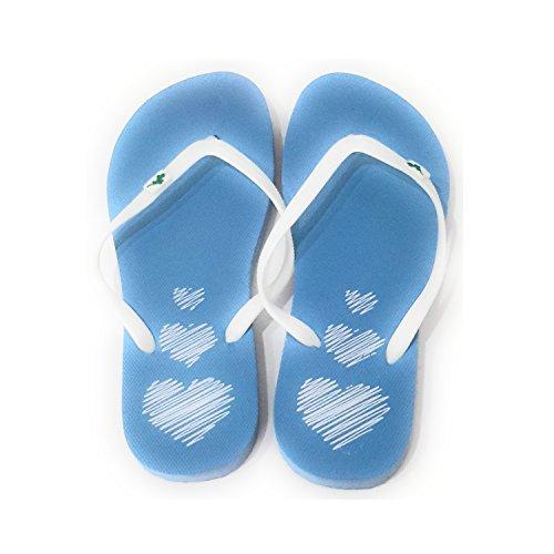 Femme Tongs Flip Flops Sandales Piscine et Plage, Couleurs Varièes Sole Bleu, Ruban Blanche
