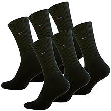 6 pares Calcetines de deporte con de rizo suela, Negro. Producto de calidad