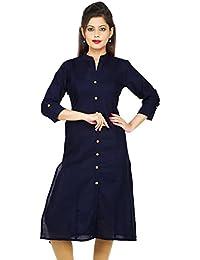 Etone Cotton Solid Pattern Regular Fit 3/4 Sleeve Slit Kurti For Women's