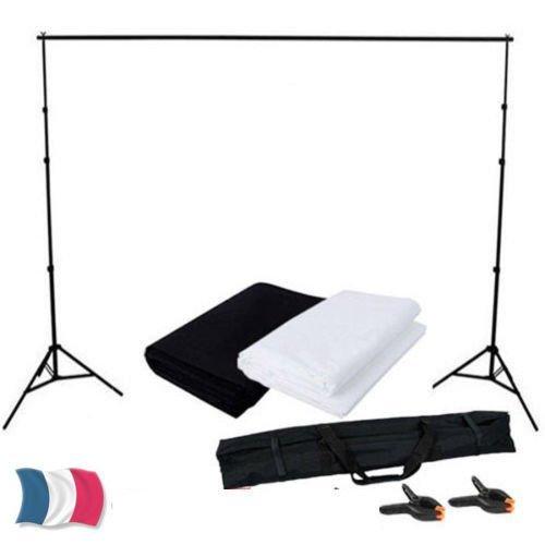 MVPOWER Kit Accessoire Photographie 2PCS Toile de fond 1.6m x 2m avec 2 Couleur Noir Blanc+ Support de Fond Trepied Réglable+ 2 Clips pour Studio Photo Vidéo