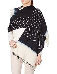Crème Noir Châle Wrap Cadeaux Femmes indienne laine main Tie-dye pour l'amie 36x80 pouces