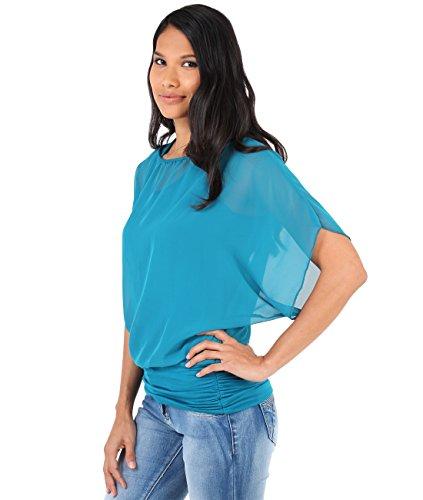 KRISP® Femmes Blouse Ample 2 en 1 Manches Chauve Souris Froncée Mousseline Bleu turquoise(3559)