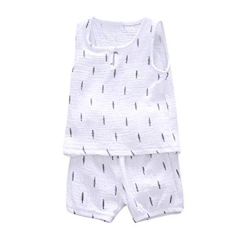 Säugling Babykleidung Hirolan Kinderkleidung Jungen Mädchen Blätter Drucken Weste Oberteile + Hosen Kleider Outfits Unisex Sweatshirts Hosen Ausstattungs Kleidungs (S, Weiß)