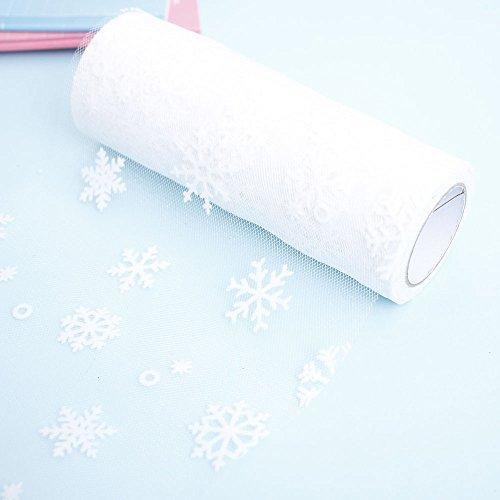 s Schneeflocke Tüllrolle Hochzeit Thema Party Weihnachten Home Decor Heimwerken Handwerk Nähen Materialien(Weiß) ()