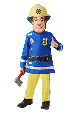 Firemans Jacke (Rubie's 3510156 - Fireman Sam Deluxe Toddler with Felt Mask 2-3 Jahre)
