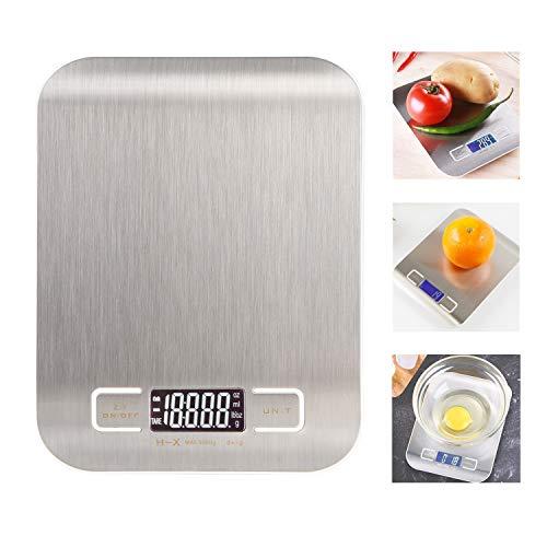 Especificación del producto: Material: acero inoxidable + plástico Color: gris Tamaño: 16.5 × 12.5 × 1.4 cm / 6.4 × 4.9 × 0.5 pulgadas Pantalla: LCD Unidades: g / ozt / lb / g Rango de peso: 1 g - 5000 g Fuente de alimentación: 2 pilas AAA (no inclui...