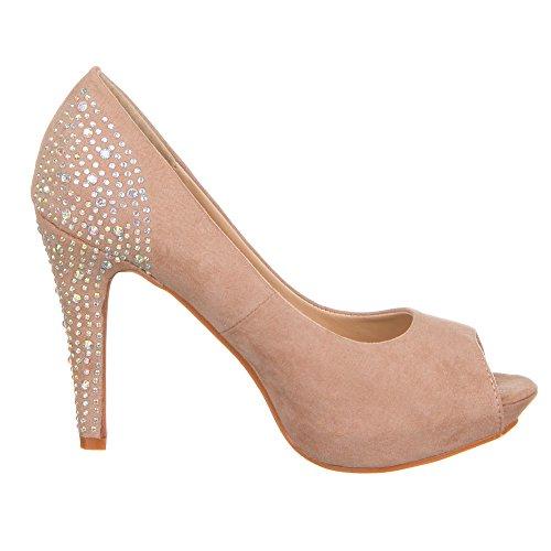 Chaussures 0121–gL Marron escarpins femme Clair n8UqwCn6