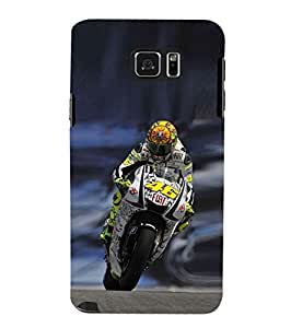 Fuson Designer Phone Back Case Cover Samsung Galaxy Note 5 :: Samsung Galaxy Note 5 N920G :: Samsung Galaxy Note5 N920T N920A N920I ( Biker Turning During The Race )
