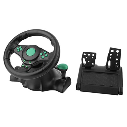 Tree-on-Life 180 Grad-umdrehung Gaming Vibration Racing Lenkrad Mit Pedalen Für Xbox 360 Für PS2 Für PS3 PC USB Auto Lenkrad (Green Racing Lenkrad)