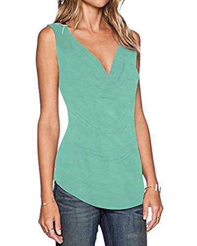 Ärmelloses Shirt ZJCTUO Frauen Spitze Lässige Tanktops Bluse Obertail (EU 40/L, Minze) (Vor Top Ärmelloses)