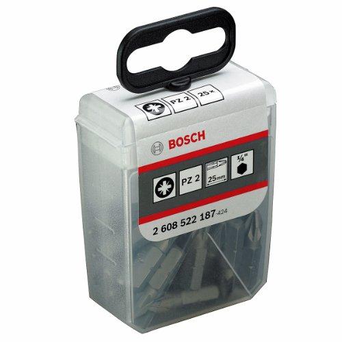 Bosch Professional Bit Extra-Hart für Phillips-Kreuzschlitzschrauben im Bitspender (PZ2, Länge: 25 mm, 25 Stück)