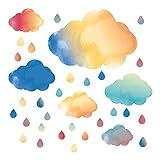 Kinderzimmer Wandtattoo Wolken in Aquarellfarben Wandsticker Himmel Deko